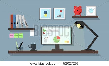 Workspace flat. A table with a desktop computer a working lamp. Vector flat line