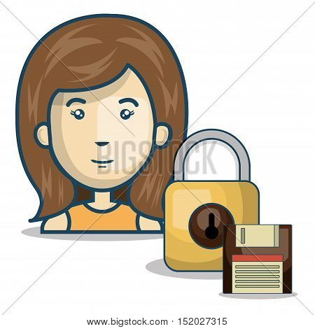 avatar woman smiling with padlock and diskette icon over white background. vector illustration