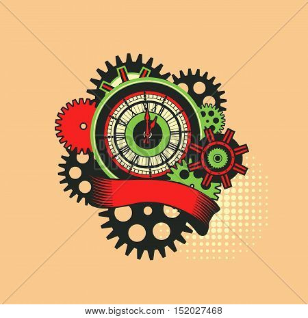 vector illustration of a clock face surrounded by mechanical parts and wrap holiday banner