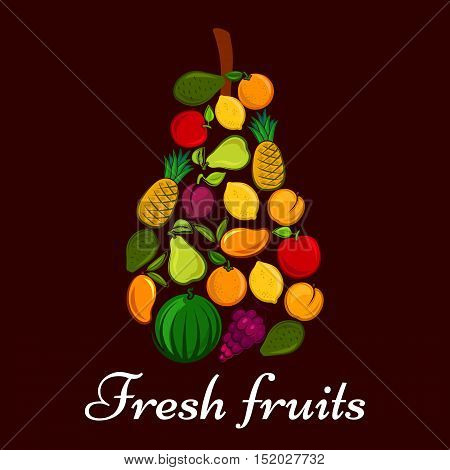 Fresh fruits in a shape of pear symbol with flat icons of orange, apple, lemon, pineapple, mango, peach, plum, pear, avocado and watermelon fruits
