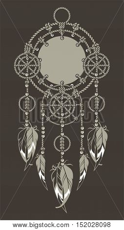 Native American Dreamcatcher protective amulet from the ropes and beads black background