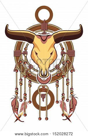 ethnic Dreamcatcher head dead bull with large horns White background