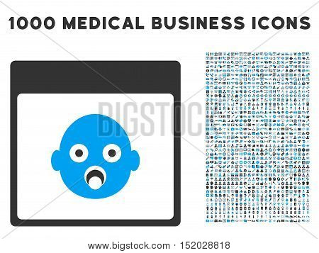 Blue And Gray Newborn Head Calendar Page vector icon with 1000 medical business pictograms. Set style is flat bicolor symbols, blue and gray colors, white background.