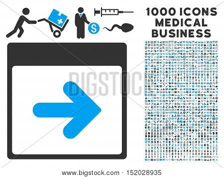 Blue And Gray Next Calendar Day vector icon with 1000 medical business pictograms. Set style is flat bicolor symbols, blue and gray colors, white background.
