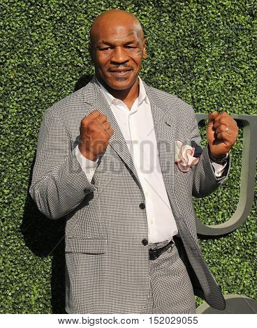 NEW YORK - AUGUST 29, 2016: Former boxing champion Mike Tyson attends US Open 2016 opening ceremony at USTA Billie Jean King National Tennis Center in New York