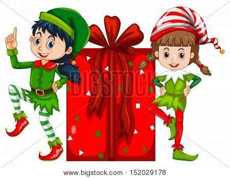 Two girls dressed in elf costume and red present box illustration