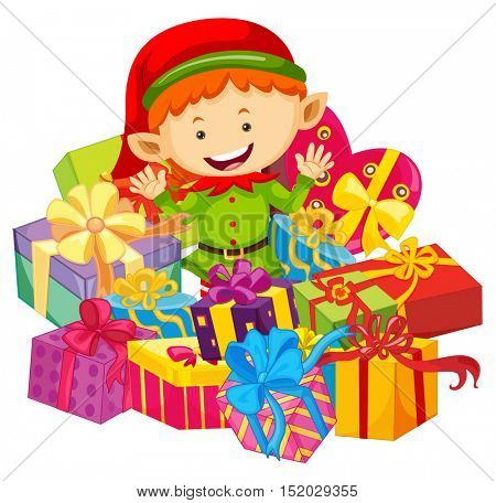 Christmas theme with elf and present boxes illustration