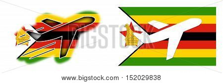 Nation Flag - Airplane Isolated - Zimbabwe