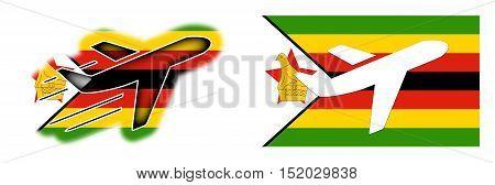Nation Flag - Airplane Isolated - Zimbabwe