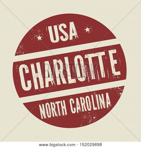 Grunge vintage round stamp with text Charlotte North Carolina vector illustration