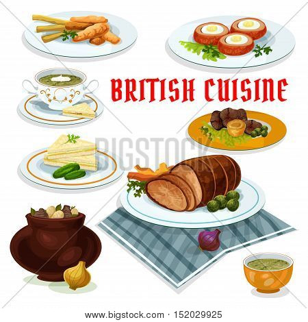 British cuisine cartoon icon with fish and fries, vegetable irish stew, roast beef with yorkshire pudding, baked beef, cucumber sandwiches, watercress cream soup, baked scotch eggs, sorrel soup
