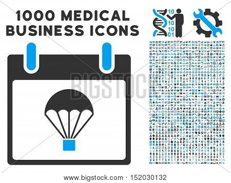 Blue And Gray Parachute Calendar Day vector icon with 1000 medical business pictograms. Set style is flat bicolor symbols, blue and gray colors, white background.