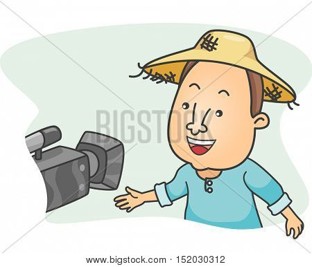 Illustration of a Farmer Wearing a Straw Hat Being Videotaped While Being Interviewed