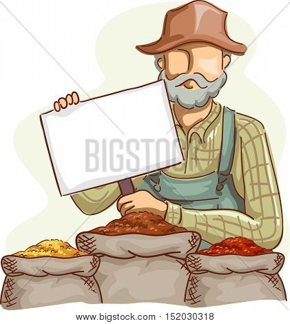 Illustration of a Farmer in Overalls and a Straw Hat Holding Blank Board with Grains