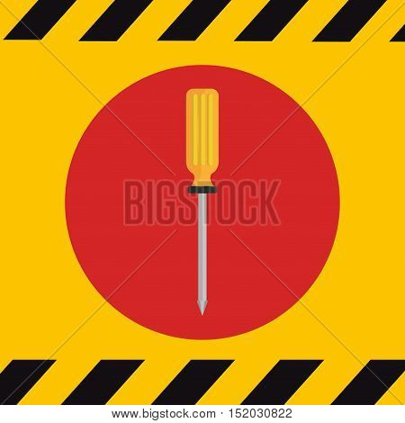 screwdriver construction tool over red cicle over yellow background. vector illustration