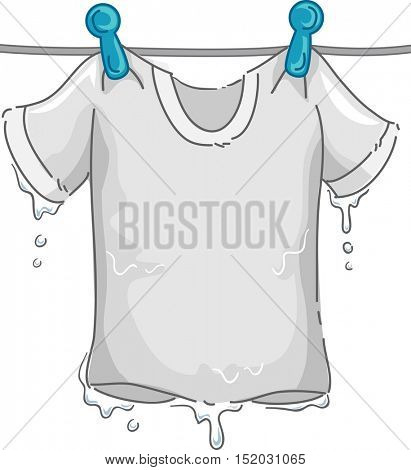 Illustration of a Dripping White T-shirt Hanging From the Clothesline as it Dries