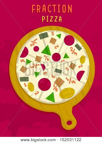 Mathematical Illustration of a Pizza Pie in a Pan with Numerical Fractions for Toppings