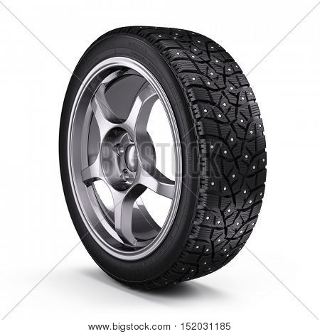 Winter snow tyre with metal spikes isolated on white background. 3d render