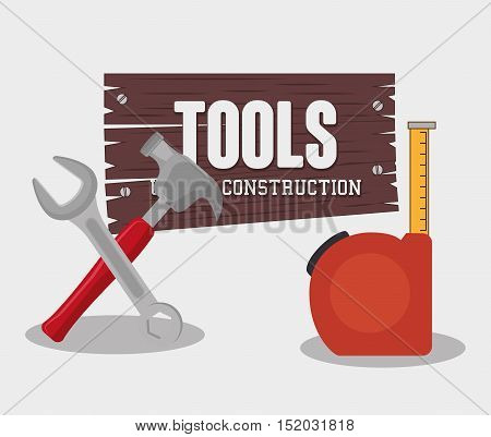 hammer and wrench construction tools over white background. vector illustration