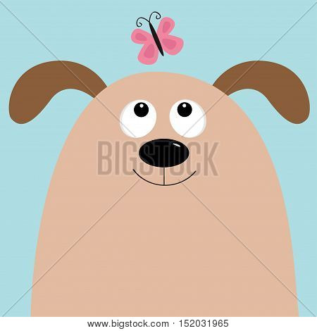 Dog head looking at pink butterfly. Cute cartoon character. Pet baby collection. Isolated. Blue sky background. Flat design. Vector illustration
