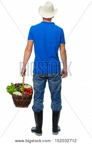 farmer with a crop in a basket behind