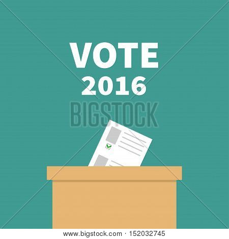Ballot Voting box Paper blank bulletin with green mark concept. Polling station. President election day Vote 2016 white text. Flat design Card. Vector illustration