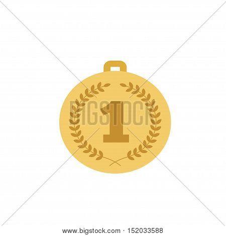 Trophy gold medal on a white background. Vector illustration