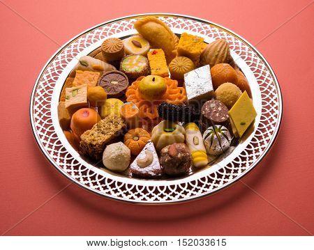 Mix Mithai or indian milk made sweets, favourite diwali, holi, dussehra, indian or pakistani wedding sweet food