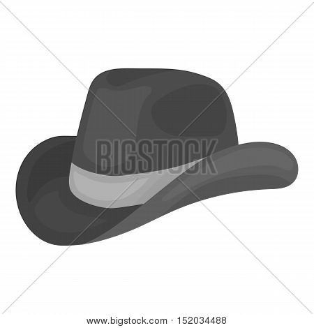 Cowboy hat icon in monochrome style isolated on white background. Patriot day symbol vector illustration.