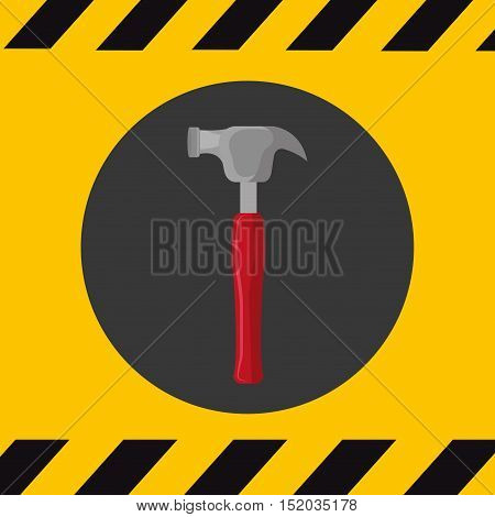 hammer with red handle over black circle and yellow background. construction tools design. vector illustration