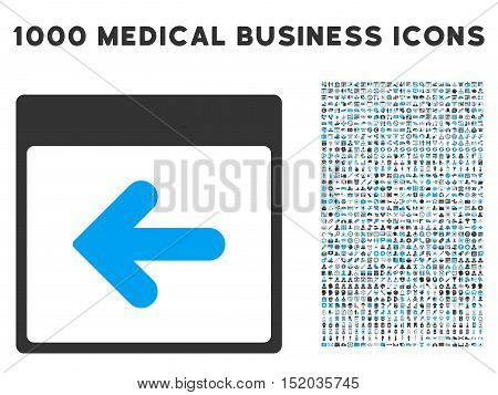 Blue And Gray Previous Calendar Day vector icon with 1000 medical business pictograms. Set style is flat bicolor symbols, blue and gray colors, white background.
