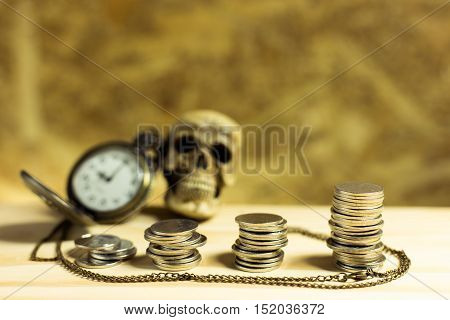 Staircase Of Money, Thai Coins Of One Bath On Wood And Element Antique Clock Skull Background.concep