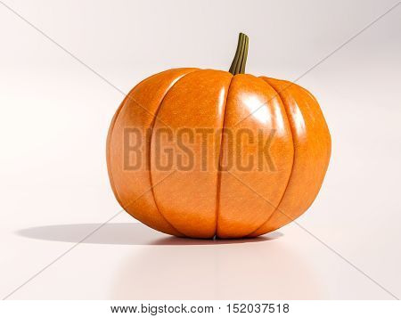 Whole Fresh Halloween Orange Pumpkin On White Background, Design Element For Poster And Backgrounds. Happy Halloween Decorative Pumpkin Detail Up Close For Halloween, Happy Halloween