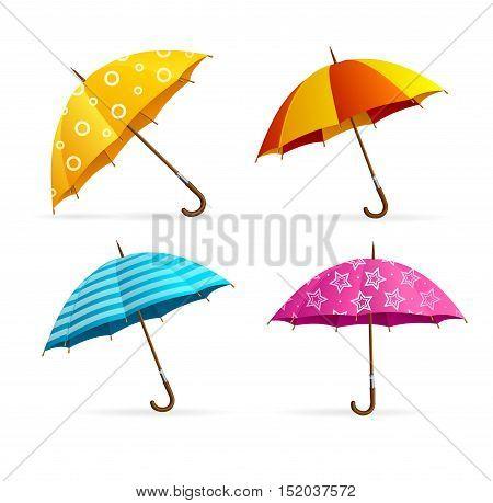 Realistic Open Colorful Umbrellas Set. Seasonal Fashion Accessory. Vector illustration