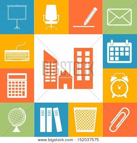 Office Accessories Icons Colorfull Set. Flar Style Vector Illustration