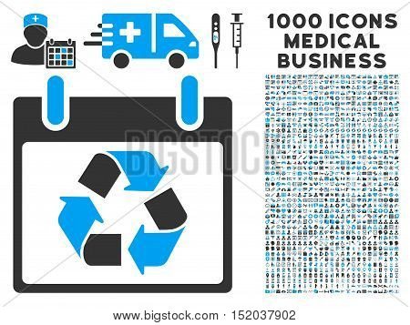 Blue And Gray Recycle Calendar Day vector icon with 1000 medical business pictograms. Set style is flat bicolor symbols, blue and gray colors, white background.