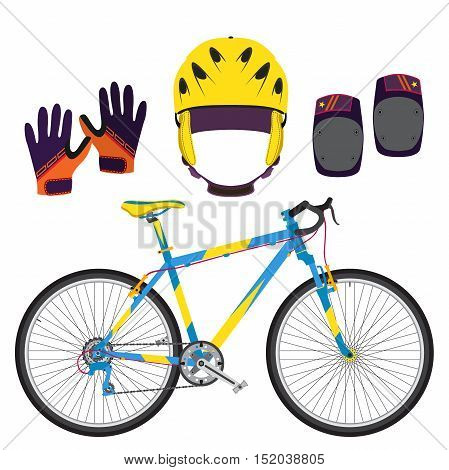 Bicycle, bike equipment and protect gear in flat vector style. Gloves, knee pads and helmet for protection.
