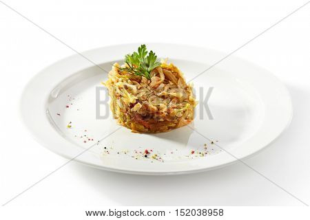 Garnish - Braised Cabbage on White Plate