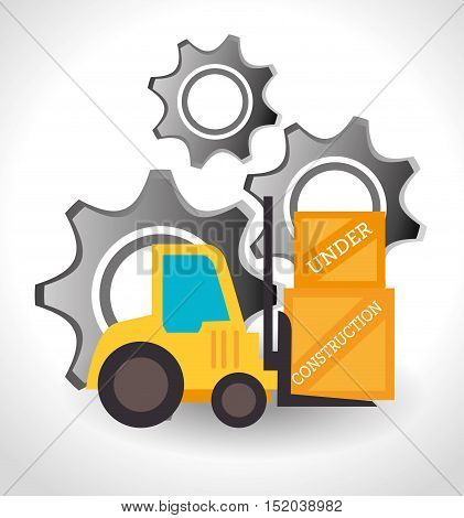 forklift truck with boxes and gears icon over white background. under construction design. vector illustration