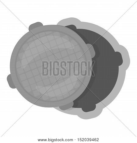 Manhole icon in monochrome style isolated on white background. Plumbing symbol vector illustration.