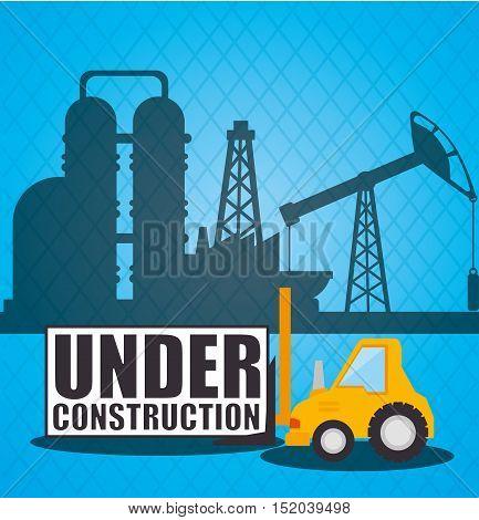 forklift truck over factory blue background. under construction design. vector illustration