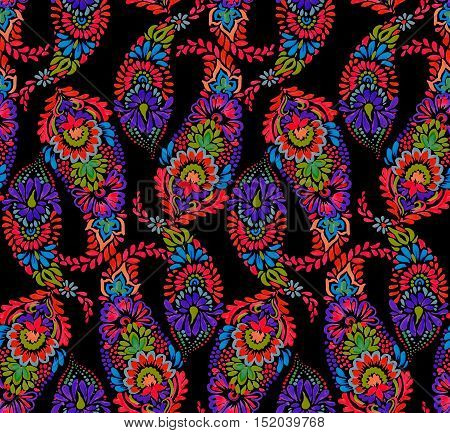 seamless amazing paisley pattern. artistic bohemian paisley illustration in a elegant colorful design. boho ethnic style, festival and gypsy inspired, detailed hand drawn illustrations.