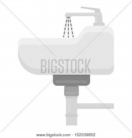 Sink icon in monochrome style isolated on white background. Plumbing symbol vector illustration.