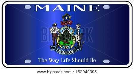 Maine state license plate flag in the colors of the state flag with the flag icons over a white background
