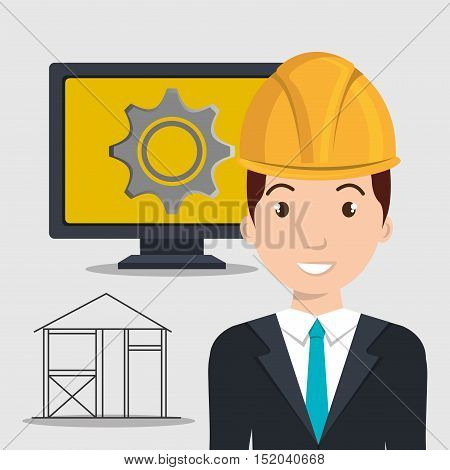 avatar architect man smiling with yellow helmet safety equipment and monitor computer with gear wheel on screen over white background. vector illustration