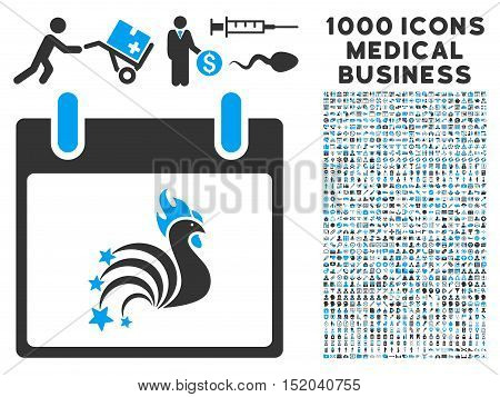 Blue And Gray Rooster Fireworks Calendar Day vector icon with 1000 medical business pictograms. Set style is flat bicolor symbols, blue and gray colors, white background.