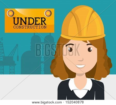 avatar woman smiling with yellow helmet safety protection over factory background. vector illustration