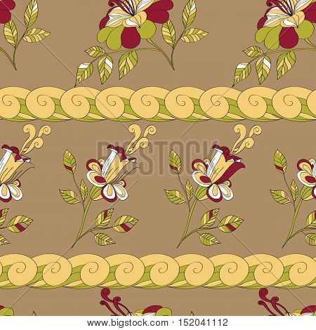 Vector seamless pattern of flowers and branches with leavess. beige green yellow white burgundy. eps8