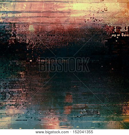 Ancient texture or damaged old style background with vintage grungy design elements and different color patterns: yellow (beige); green; blue; red (orange); purple (violet); black