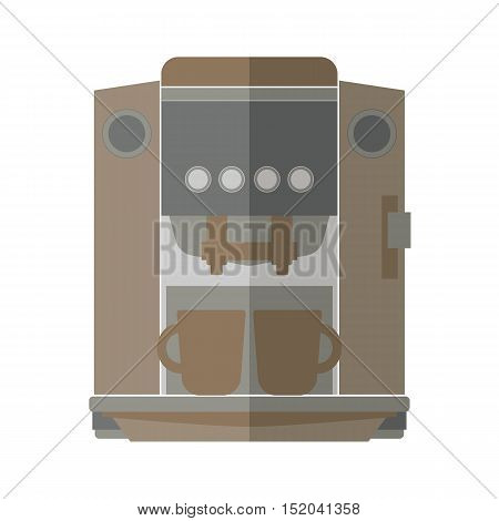 Coffee machine isolated on white background. Espresso making machine brewing two cups of coffee. Vector illustration.